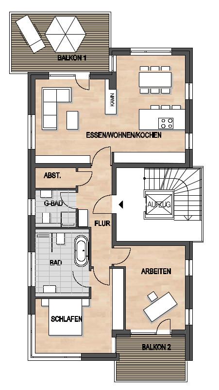 Les Suites – wohin am Rotenbühl Haus 1 Grundriss 1. OG