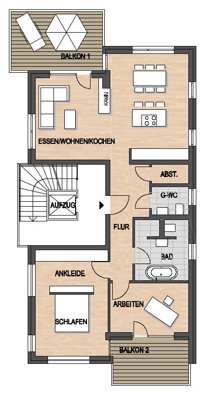 Les Suites – wohin am Rotenbühl Haus 2 Grundriss 1. OG