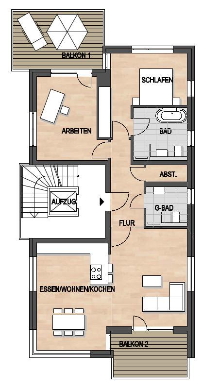 Les Suites – wohin am Rotenbühl Haus 2 Grundriss 2. Obergeschoss